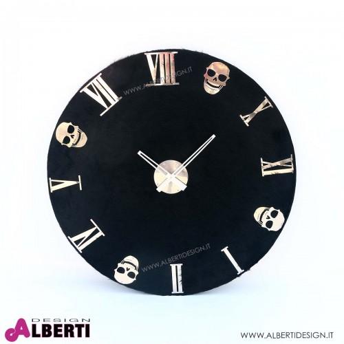 Orologio rotondo nero con teschi da parete D79 cm