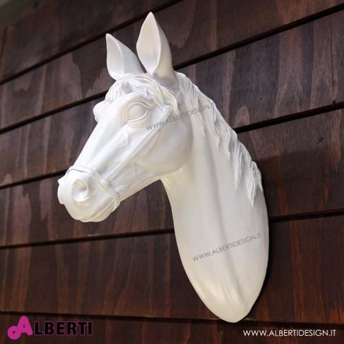 Testa di cavallo da muro HorseHead bianco32x14x41