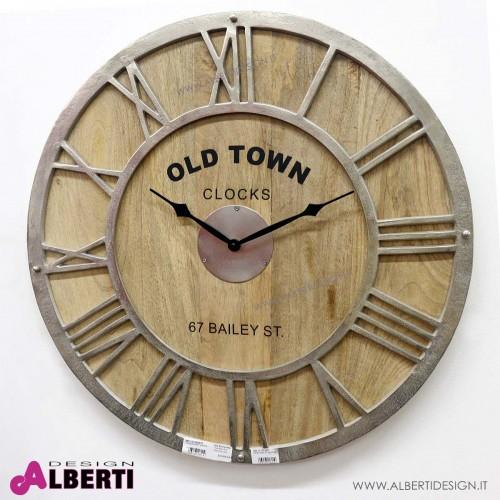 Orologio parete rotondo in legno nickel Ø 61cm