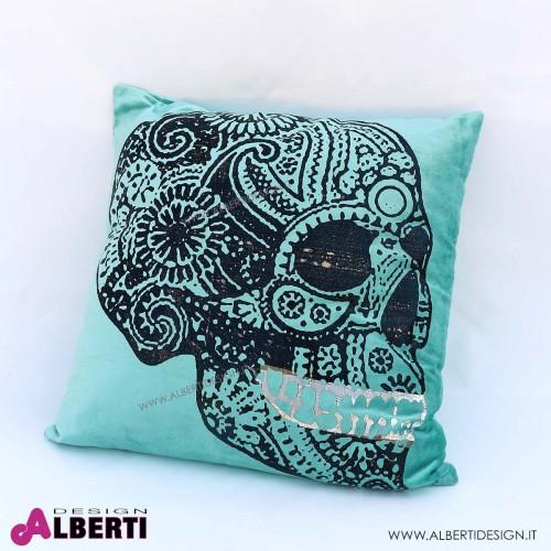 Cuscino con teschio oro/argento/nero 50x50 cm