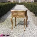 Comodino barocco Lugano gold foglia