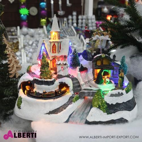Villaggio di Natale animato treno 31x19x17