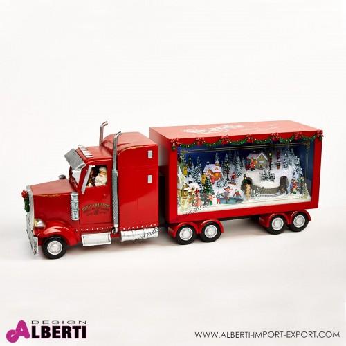 962 TT133837_a Camion americano animato con villaggio di Natale 66x26x18cm