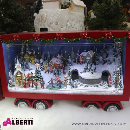 962 TT133837_b Camion americano animato con villaggio di Natale 66x26x18cm