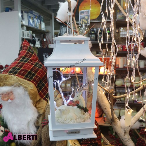 Lanterne bianca luminosa con neve e cervi all'interno 48 cm