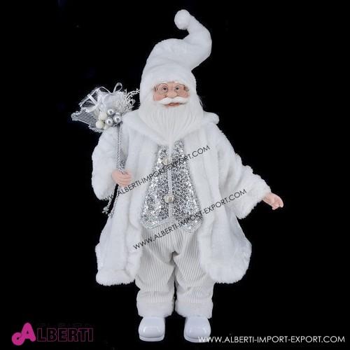 Babbo Natale in piedi bianco 70cm
