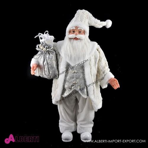 Babbo Natale in piedi bianco e argento 90cm