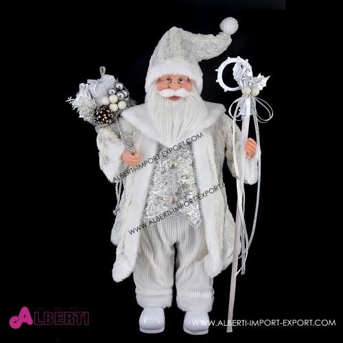Babbo Natale in piedi bianco e argento 70cm