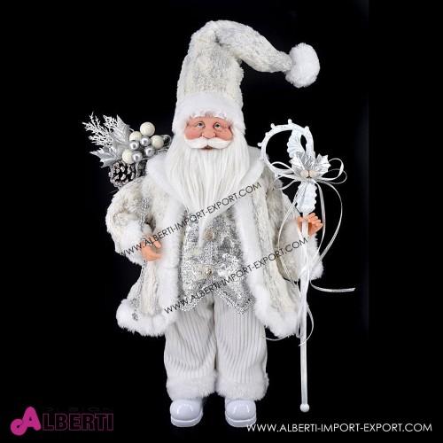 Babbo Natale in piedi bianco e argento in stoffa H45cm