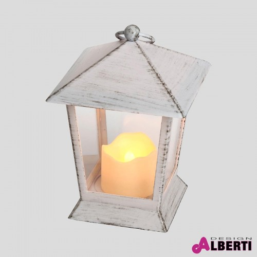 Lanterna bianca con candela 11,5x11,5x H17