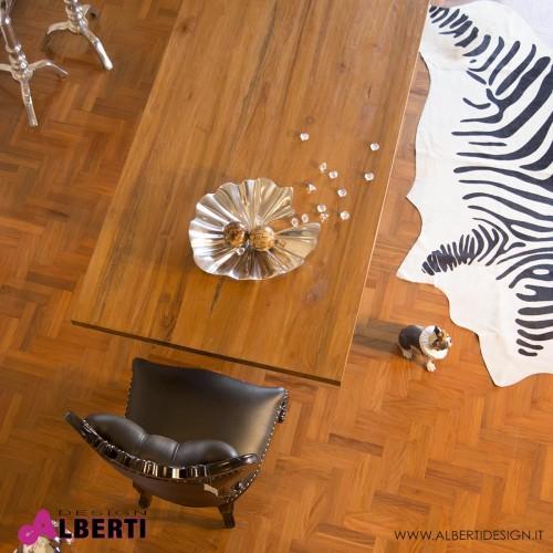Top tavolo legno massiccio in teak 201x106x6