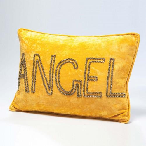 Cuscino giallo con scritta Angel in rilievo 35x50cm