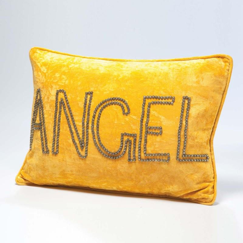 962 KA34959_a Cuscino giallo con scritta Angel in rilievo 35x50cm