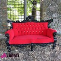 Divano barocco french 2 posti black/red 180cm