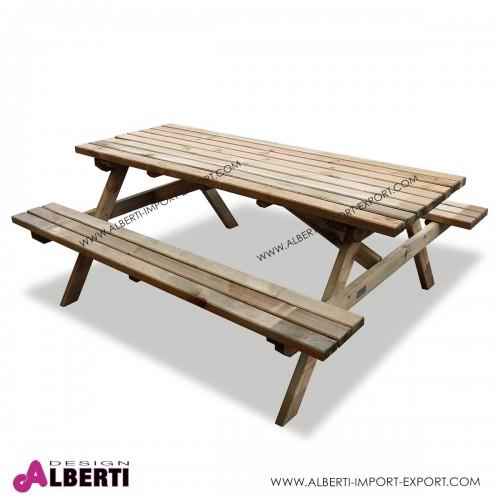 Tavolo Pic-nic legno con panche per esterno 40mm 180x150xh70cm