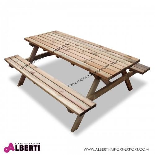 Tavolo Pic-nic legno con panche per esterno LINDA 32mm 180x140xh75imp
