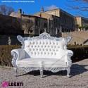 Divano barocco french 2 posti argento/bianco 160cm