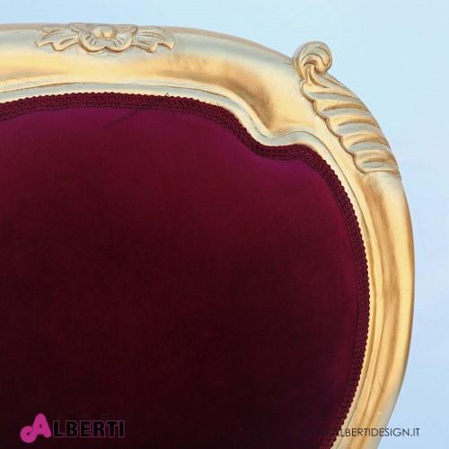 962 BA2126_a Sedia Versailles baby foglia oro/velluto bordeaux 45x43x85 cm