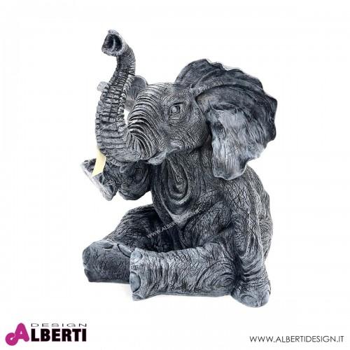 Elefante grigio e nero vetro resina L50H57cm