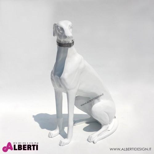 Cane levriero bianco in vetroresina 80x55x35cm