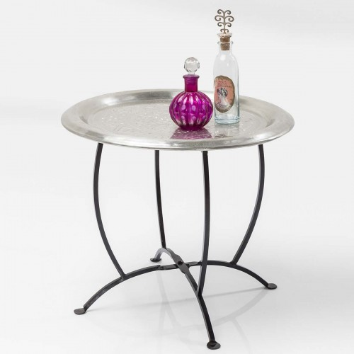 Tavolino rotondo in alluminio lavorato con gambe metallo Ø 45cm