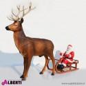 Babbo Natale in vetroresina con slitta e renna maxi