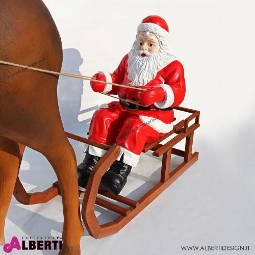 963 100G_b Babbo Natale con slitta e renna