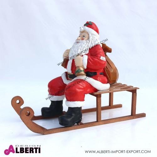 963 95M_a Babbo Natale in vetro resina su slitta in legno H58 cm