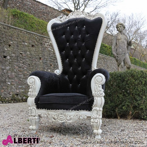 962 BAKINGW^B-AL_b Poltrona KING white/black simil- Alcantara 100x78x182