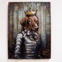 Quadro Iron Queen Dog in metallo 100x75x9cm