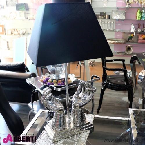 Lampa da tavolo mani metallo con paralume nero