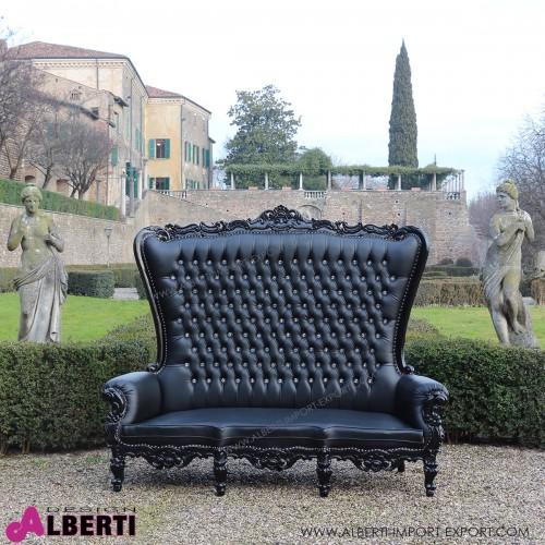 Divano barocco Marilyn black/black 212cm