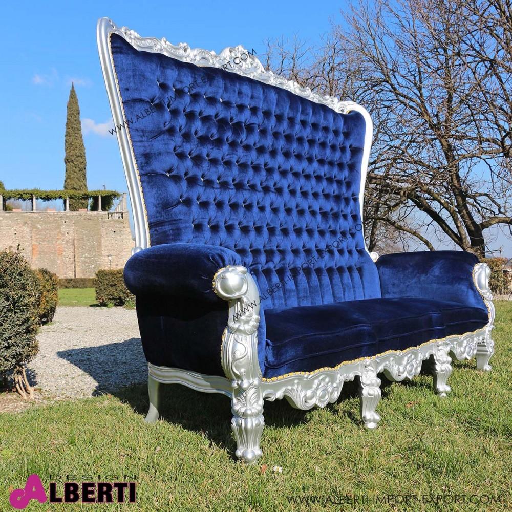Divano marilyn silver blue velluto 212x78x174 for Divano velluto blu