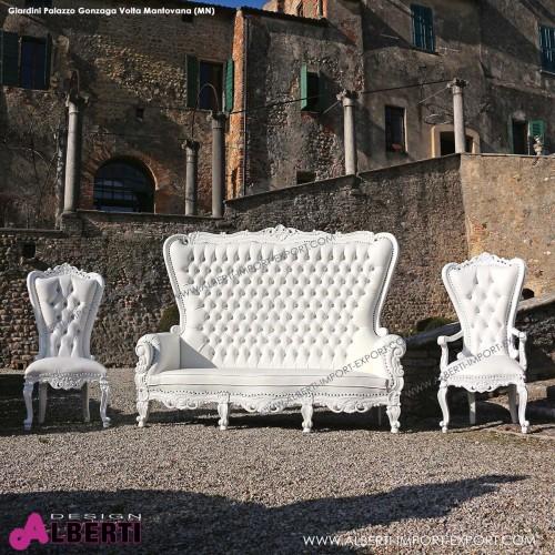 Divano barocco Marilyn white/white 212cm