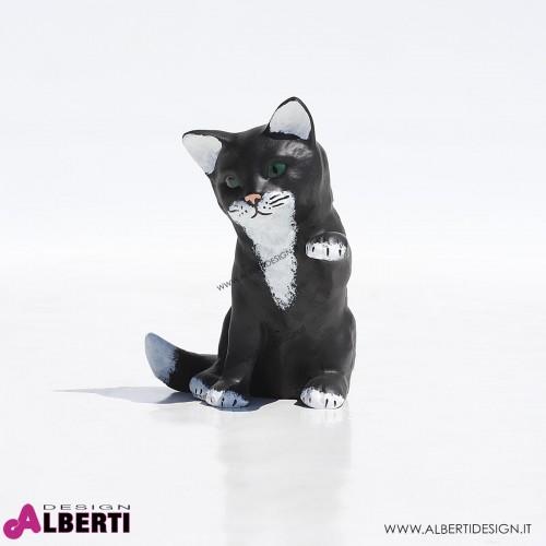 Gatto seduto nero/bianco in vetroresina 10x15x15