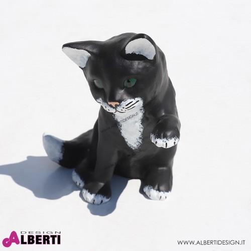 963 137K_b Gatto seduto nero/bianco 10x15x15