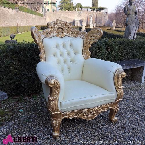 Poltrona barocco FRENCH gold foglia/cream 88cm