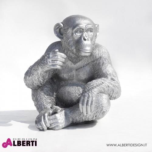 Scimmia argento in vetro resina 45x40xH50 cm