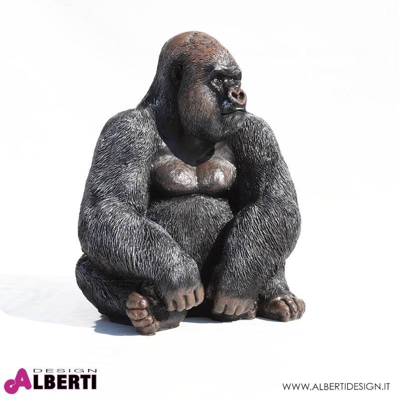 963 PLA618_a Gorilla in vetroresina H 75cm