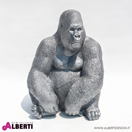 Gorilla argento in vetroresina H 75cm