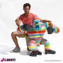 Gorilla multicolor in vetro resina 120x60xH105 cm
