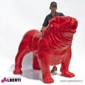 Bulldog rosso in vetro resina100x180xH150cm rosso