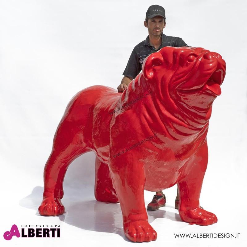 963 PLA483_a Bulldog rosso in vetro resina100x180xH150cm rosso