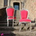 Sedia barocco PARIGI L. silver/red simil Alcantara 54x50x105