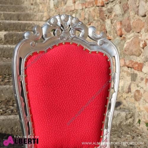 962 BASPARS^R-AL_b Sedia PARIGI L. silver/red       simil-Alcantara 54x50x105