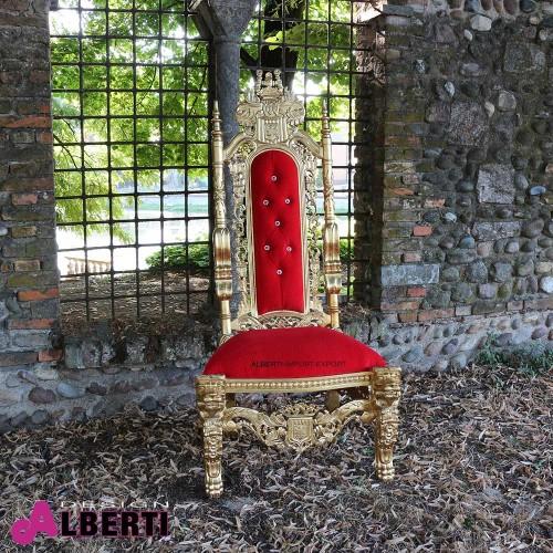 Trono barocco con leoni lavorato oro con tessuto rosso e bottoni simil swarosky 86x80x185