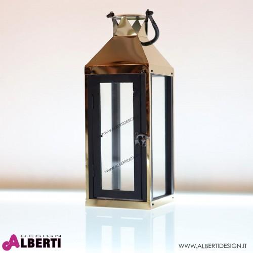 Lanterna Malaga in metallo color bronzo e legno 14x40xH40