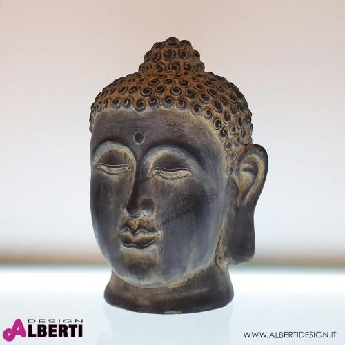 962 WU15416_a Testa Buddha nera 35x33x48 cm