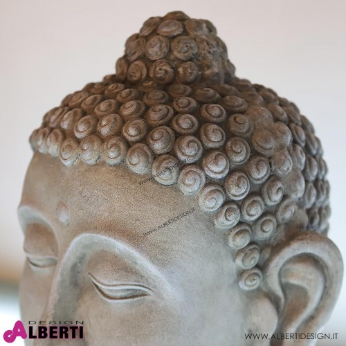 962 WU24123_b Testa Buddha grigia poly 48x33 cm