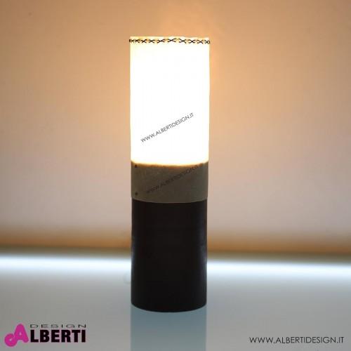 Lampada da tavolo in legno e pelle STUM LILY H50 cm